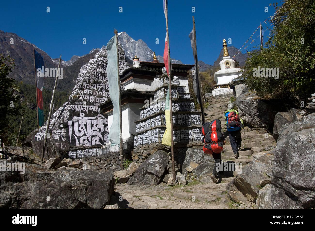 Il Nepal, zona di Sagarmatha, Regione di Khumbu, approccio a piedi tra gli stupa scolpiti con mantra Immagini Stock