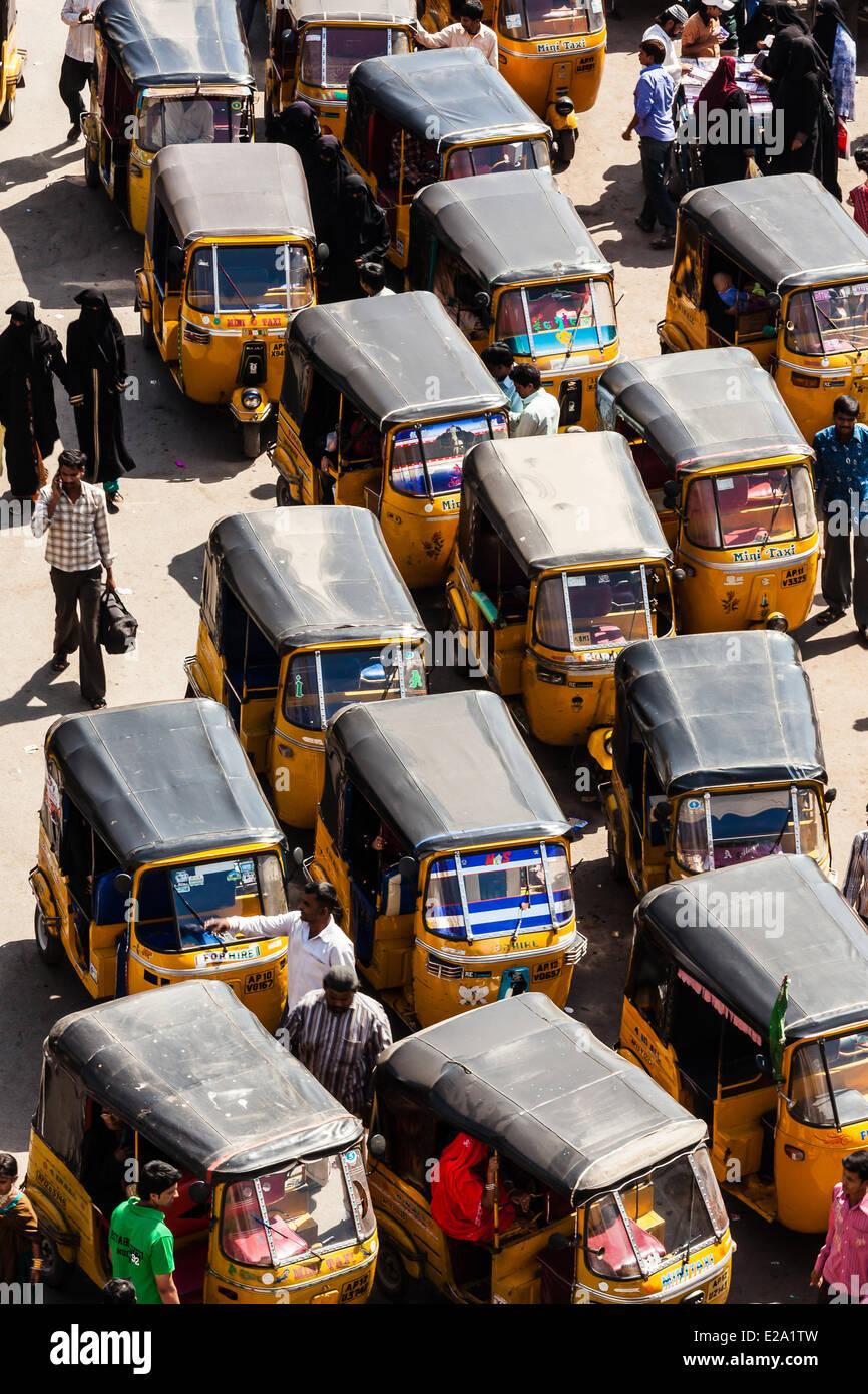 India Andhra Pradesh, Hyderabad, autorickshaws Immagini Stock