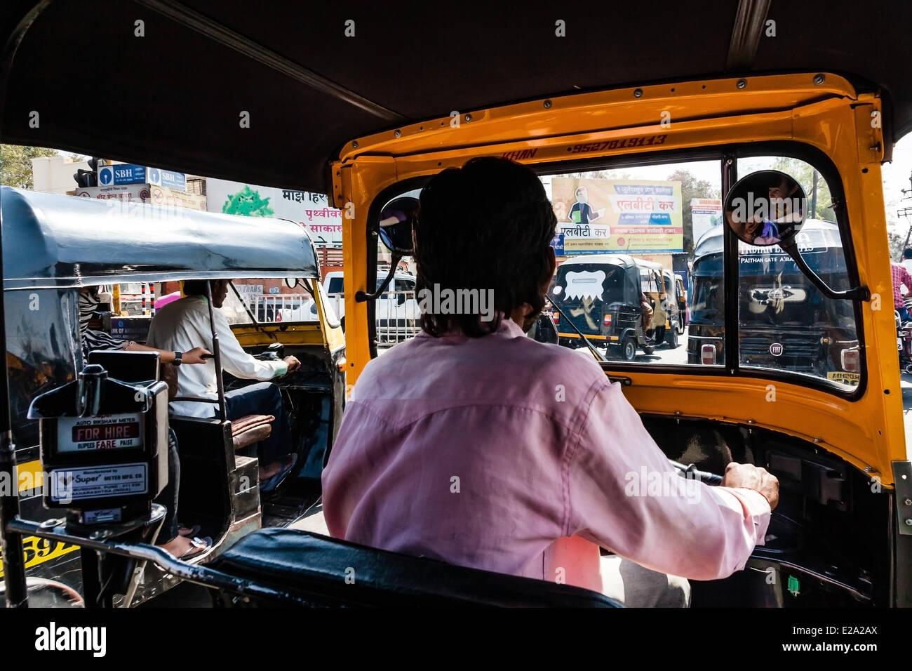 India, nello stato del Maharashtra, Aurangabad, all interno di un autorickshaw Immagini Stock