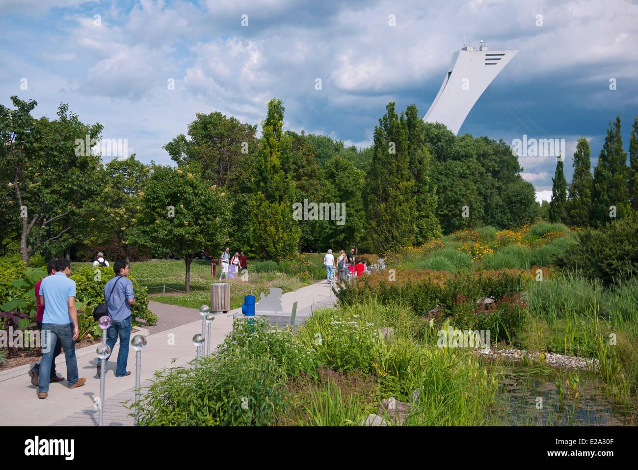 Canada, Provincia di Quebec, Montreal, Giardino Botanico e sullo sfondo la Olympic Stadium tower Immagini Stock