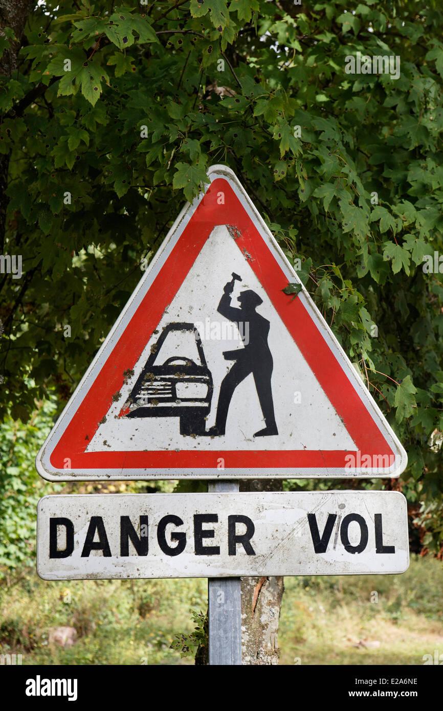 Francia, Bas Rhin, segno attenzione per rapina Immagini Stock