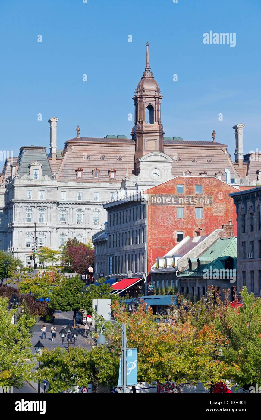 Canada, Provincia di Quebec, Montreal Vecchia Montreal, Place Jacques Cartier, Municipio Immagini Stock