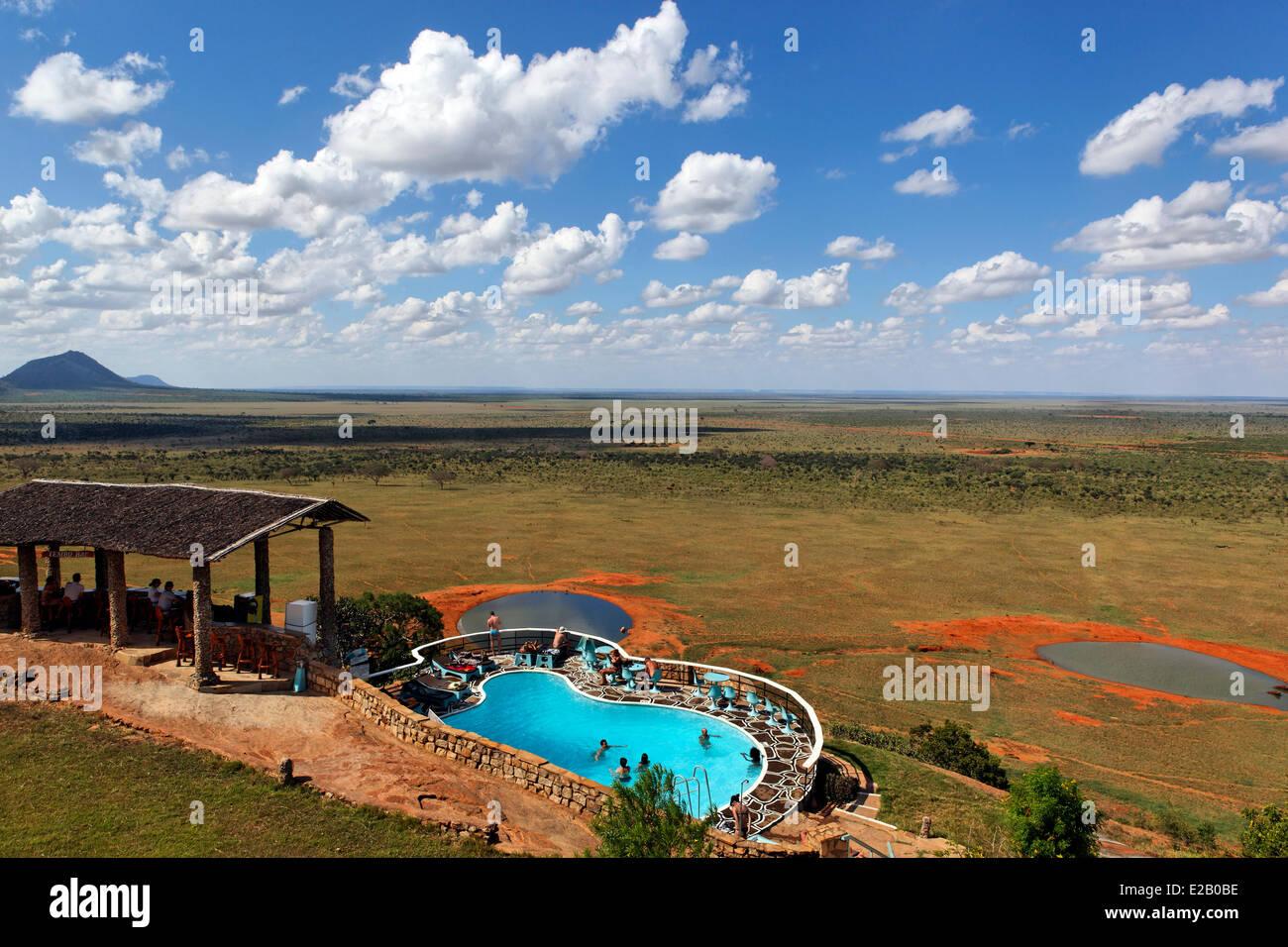Kenya, Tsavo Est national park, vista generale da Voi Safari Lodge Immagini Stock