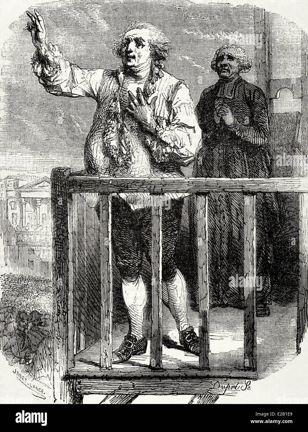 Rivoluzione francese. Esecuzione del Re Luigi XVI (1754 - 1793) Il 21 gennaio 1793. Incisione. Immagini Stock