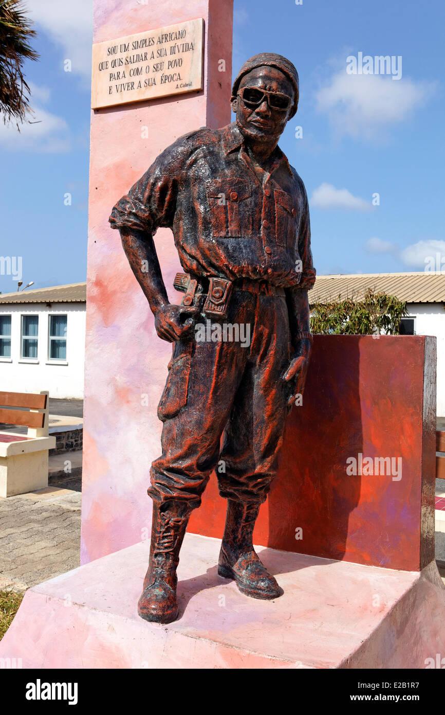 Capo Verde, Sal, statua di Amilcar Cabral che ha dato l'indipendenza di Capo Verde Immagini Stock