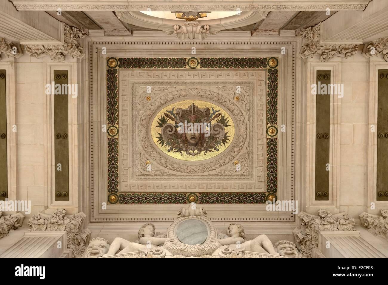 Francia, Parigi, Opera Garnier, particolare del soffitto della terrazza dalla facciata sud Immagini Stock