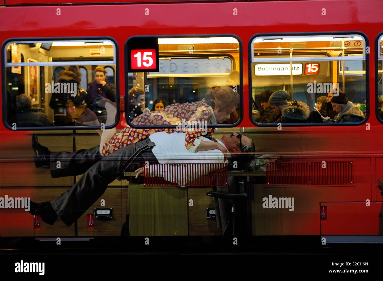 Svizzera, Zurigo tram verniciato Immagini Stock