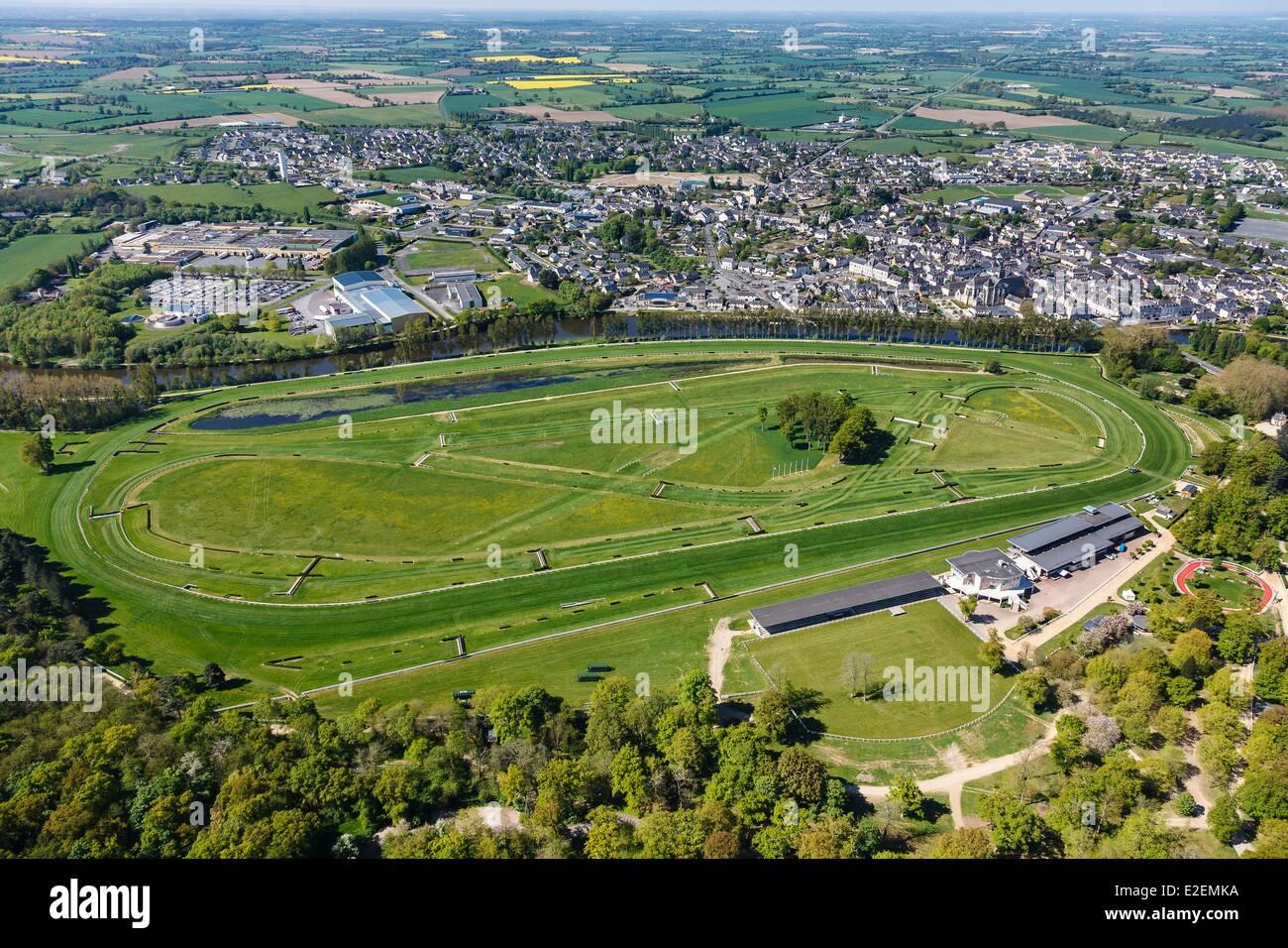 Francia, Maine et Loire, Le Lion d'Angers, racecourse (vista aerea) Immagini Stock