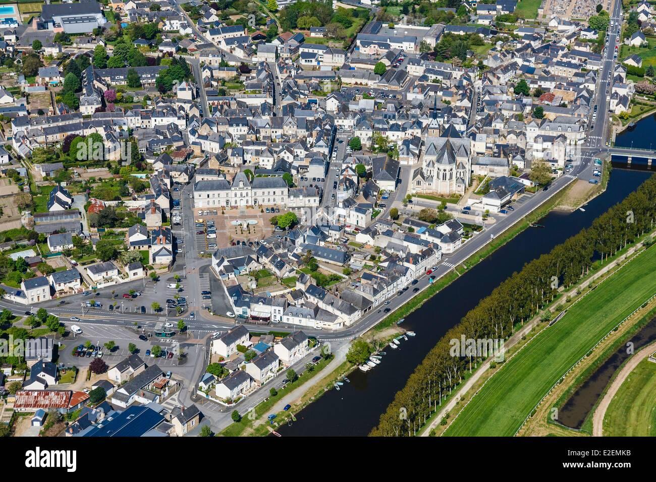 Francia, Maine et Loire, Le Lion d'Angers (vista aerea) Immagini Stock