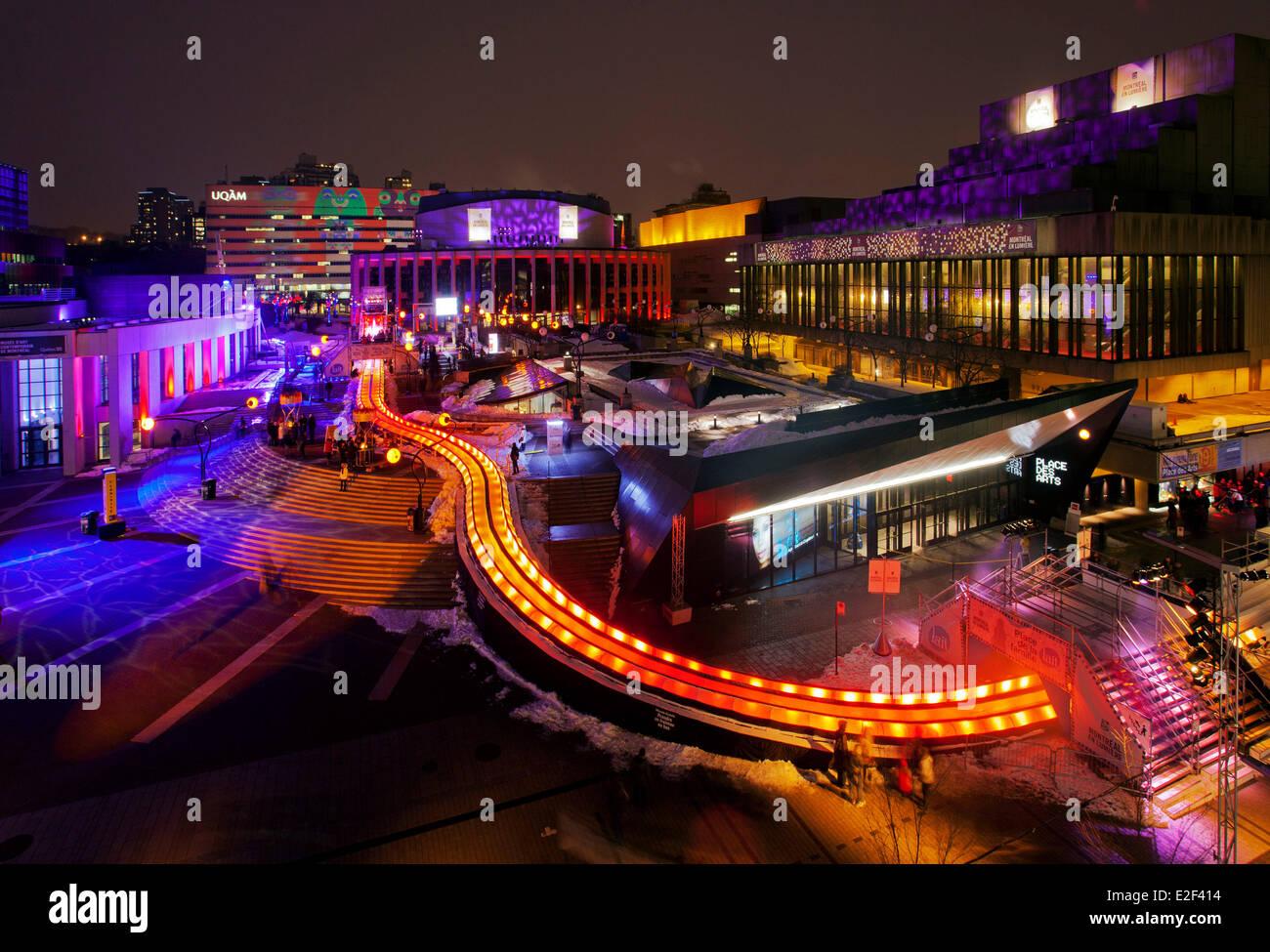 Canada, Provincia del Quebec e di Montreal, Montreal en Lumiere festival, scivolo gigante Immagini Stock