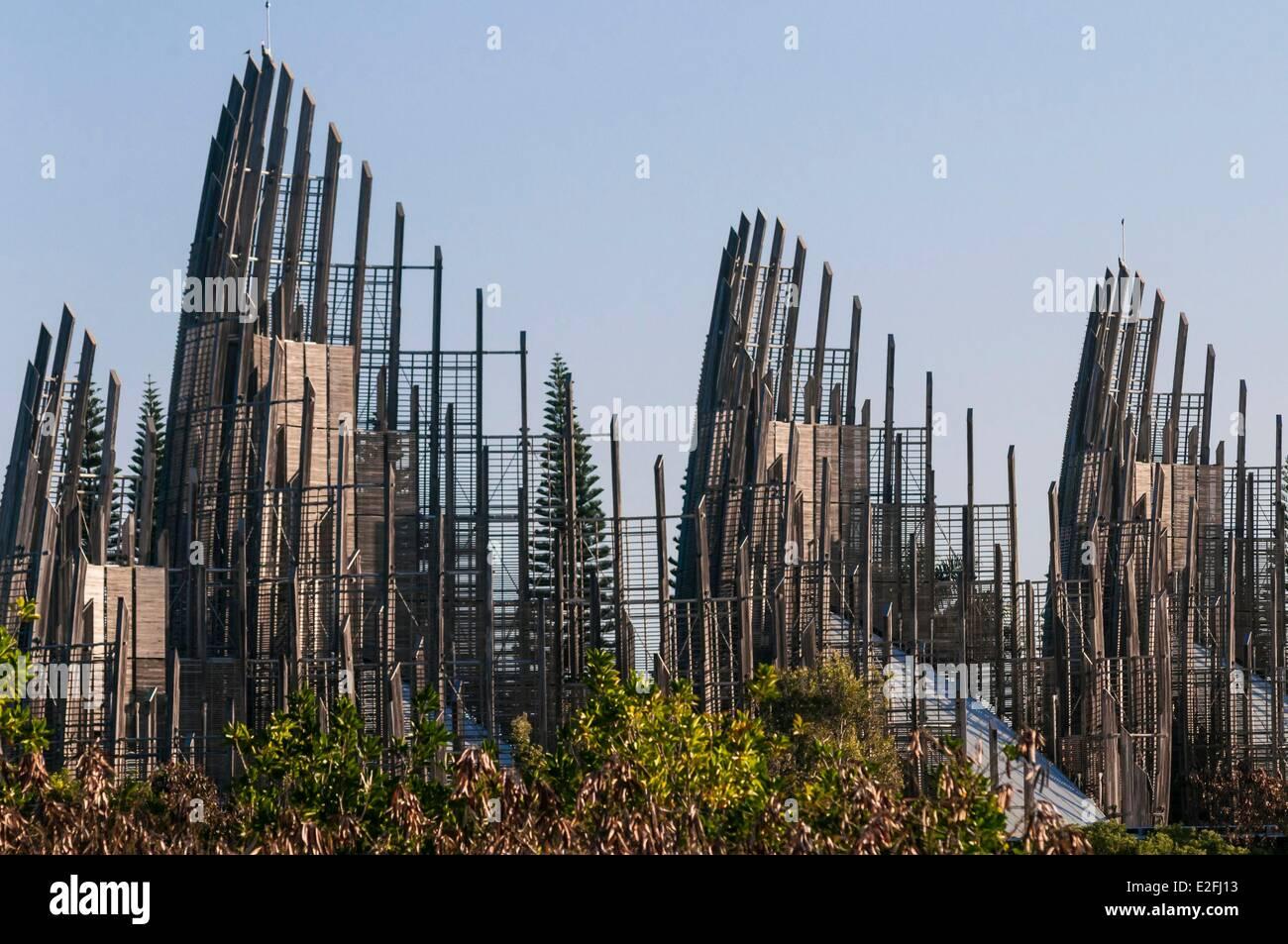 Francia, Nuova Caledonia, Grande Terre, Noumea, quartiere Magenta, Jean Marie Djibaou Kanak centro culturale da Immagini Stock