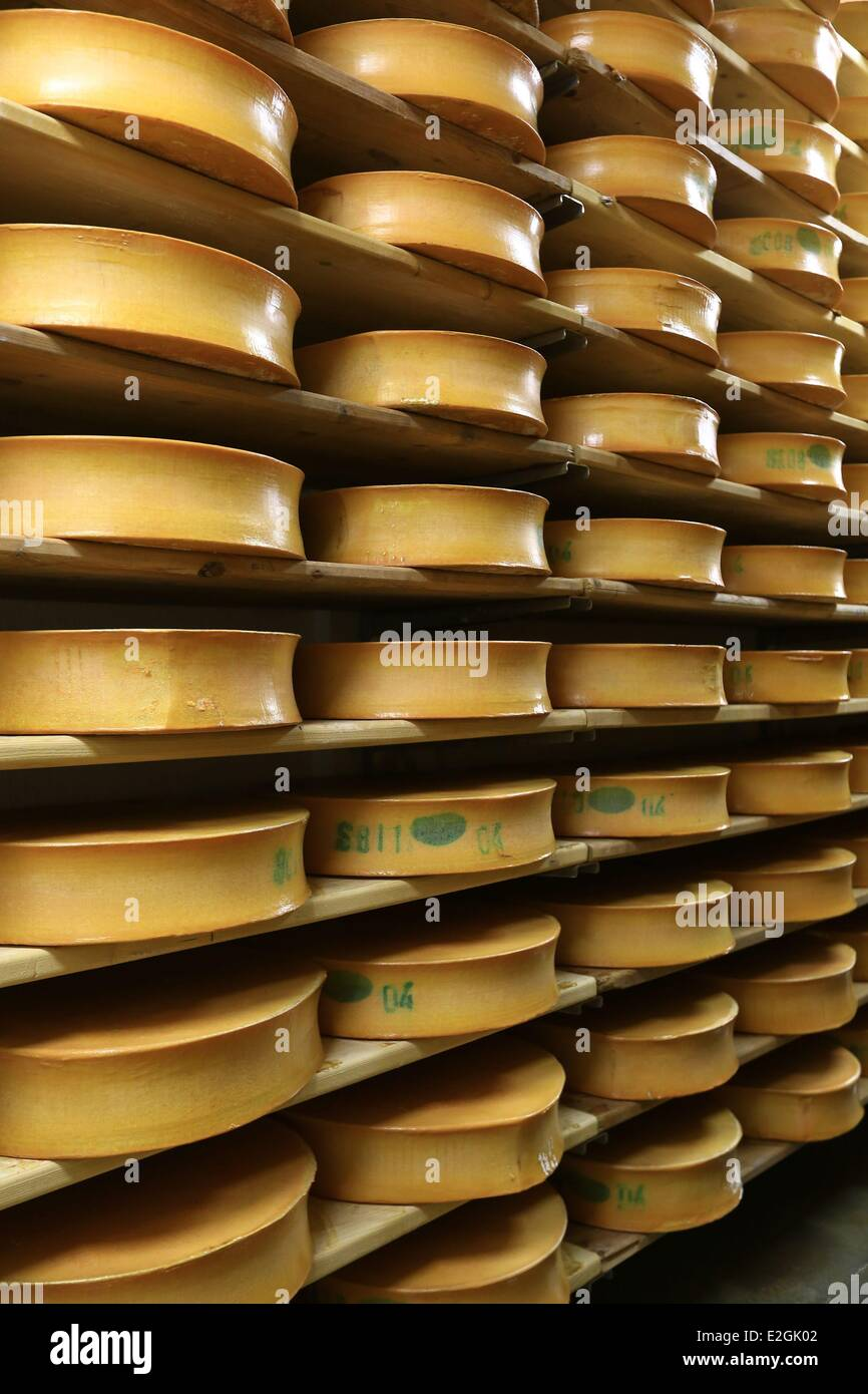 Francia Savoie Maurienne Saint Sorlin cooperativa lattiero-casearia in valle Arves Beaufort AOP Immagini Stock