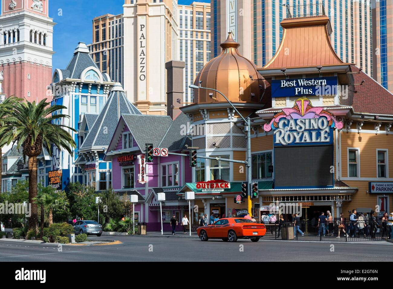 Stati Uniti Nevada Las Vegas Hotel di lusso e la famosa Strip di Las Vegas Immagini Stock