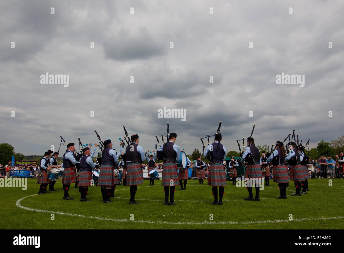 Pipeband scozzese campionati, a Bathgate, Scozia. Foto Stock
