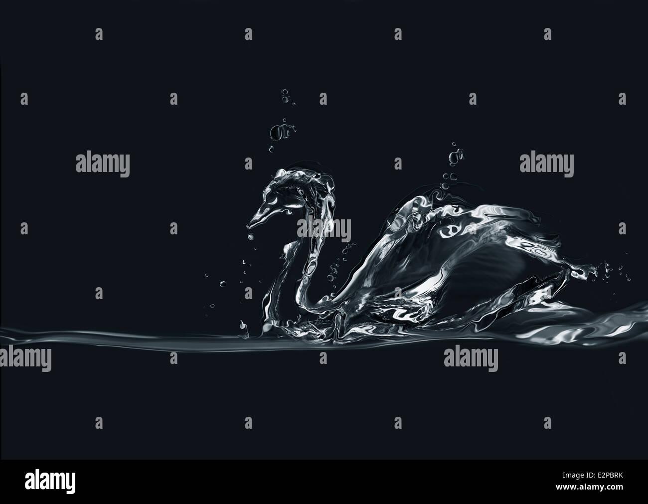 Una silhouette di un cigno fatto di acqua su sfondo nero. Immagini Stock