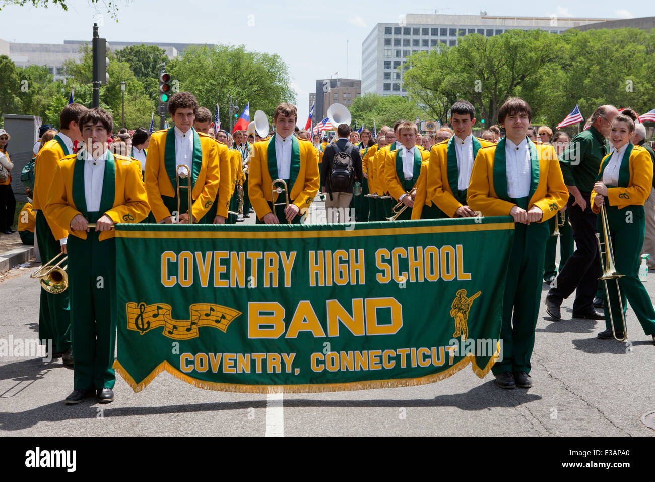 High school marching band banner - USA Immagini Stock