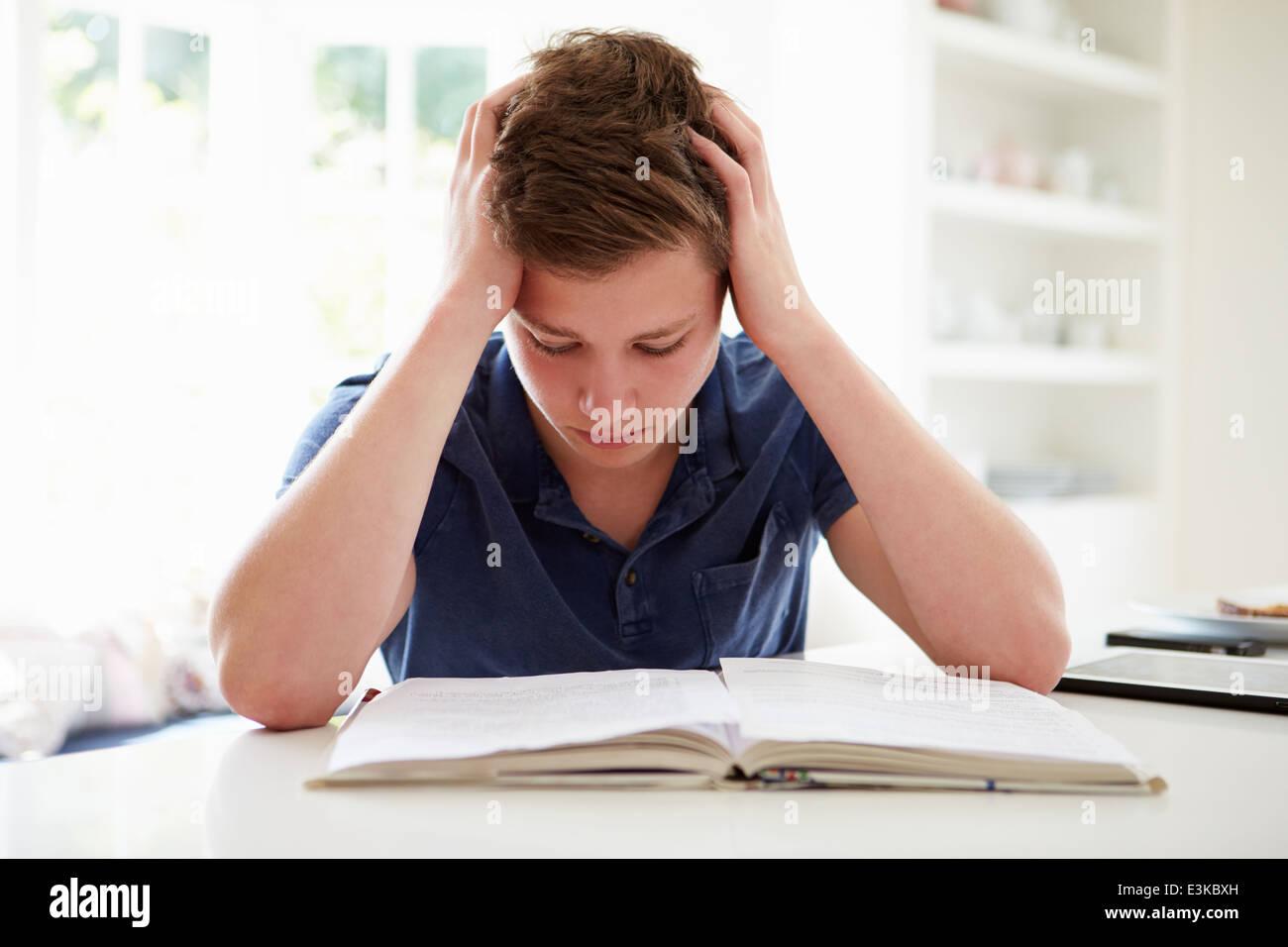 Premuto Boy lo studio a casa Immagini Stock