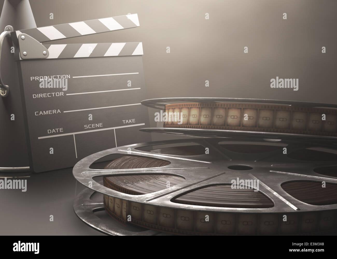 Clapperboard con rotoli di pellicola nel concetto retrò cinema. Immagini Stock