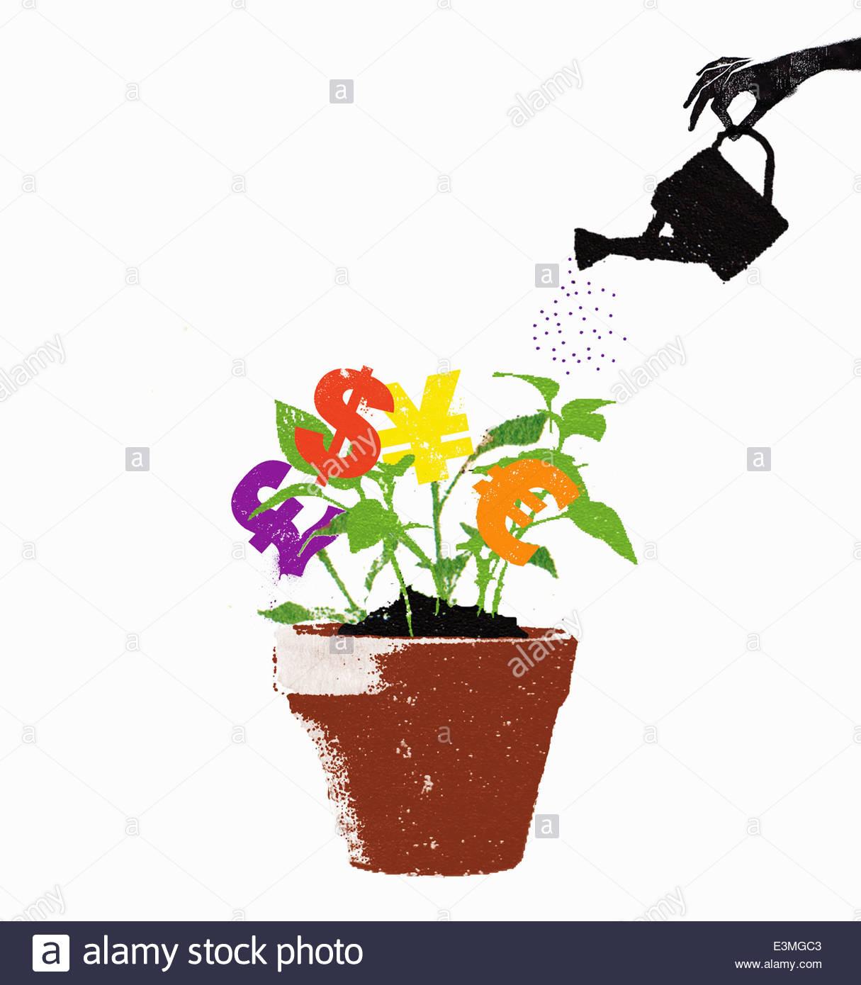 Impianti di irrigazione a mano international simboli di valuta crescente di piante in vaso Immagini Stock