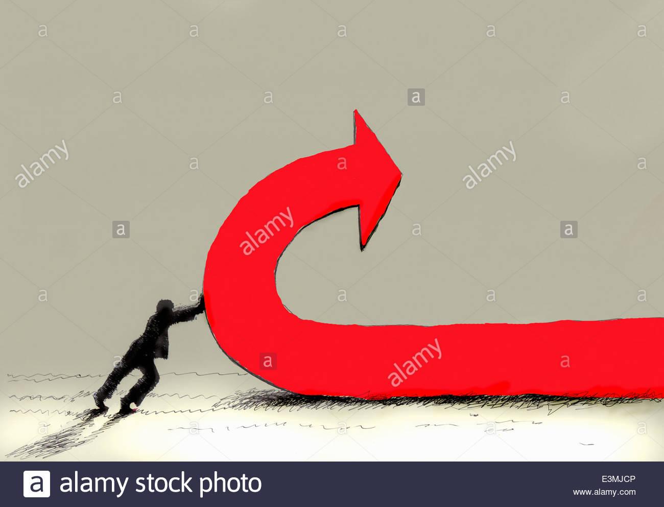 Imprenditore spingendo la linea rossa e un cambio di direzione Immagini Stock