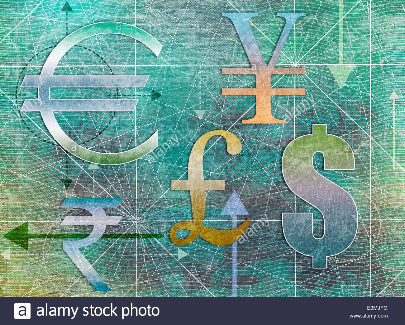 International simboli di valuta Immagini Stock
