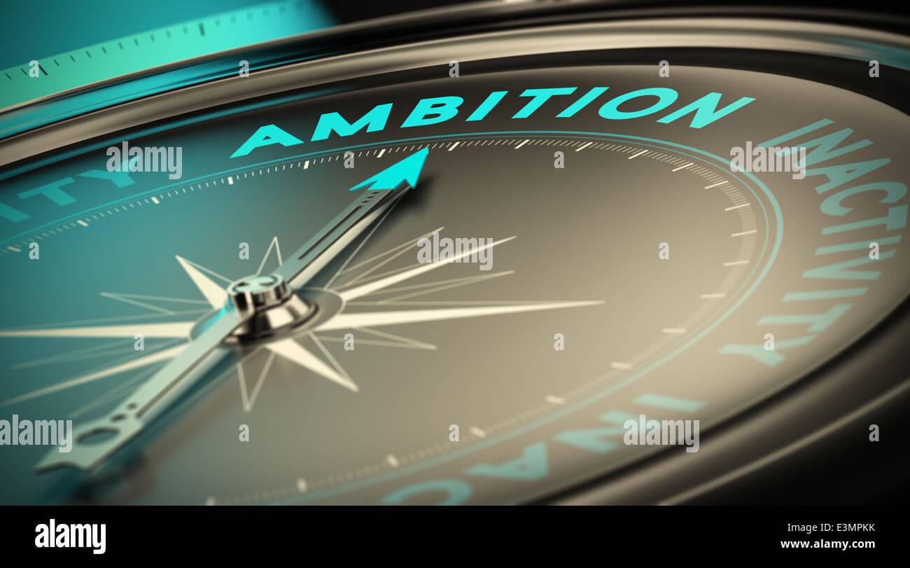 Bussola ago rivolto la parola ambizione su sfondo nero. Concetto illustrazione di determinazione e avendo successo Immagini Stock