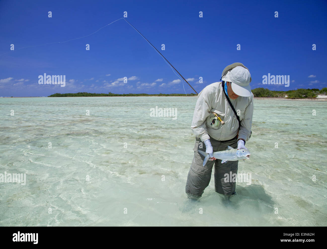 Saltwater fly fishing per bonefish nelle isole delle Bahamas Immagini Stock