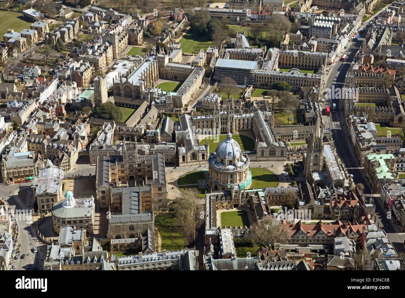 Vista aerea del centro di Oxford e Oxford University College Immagini Stock