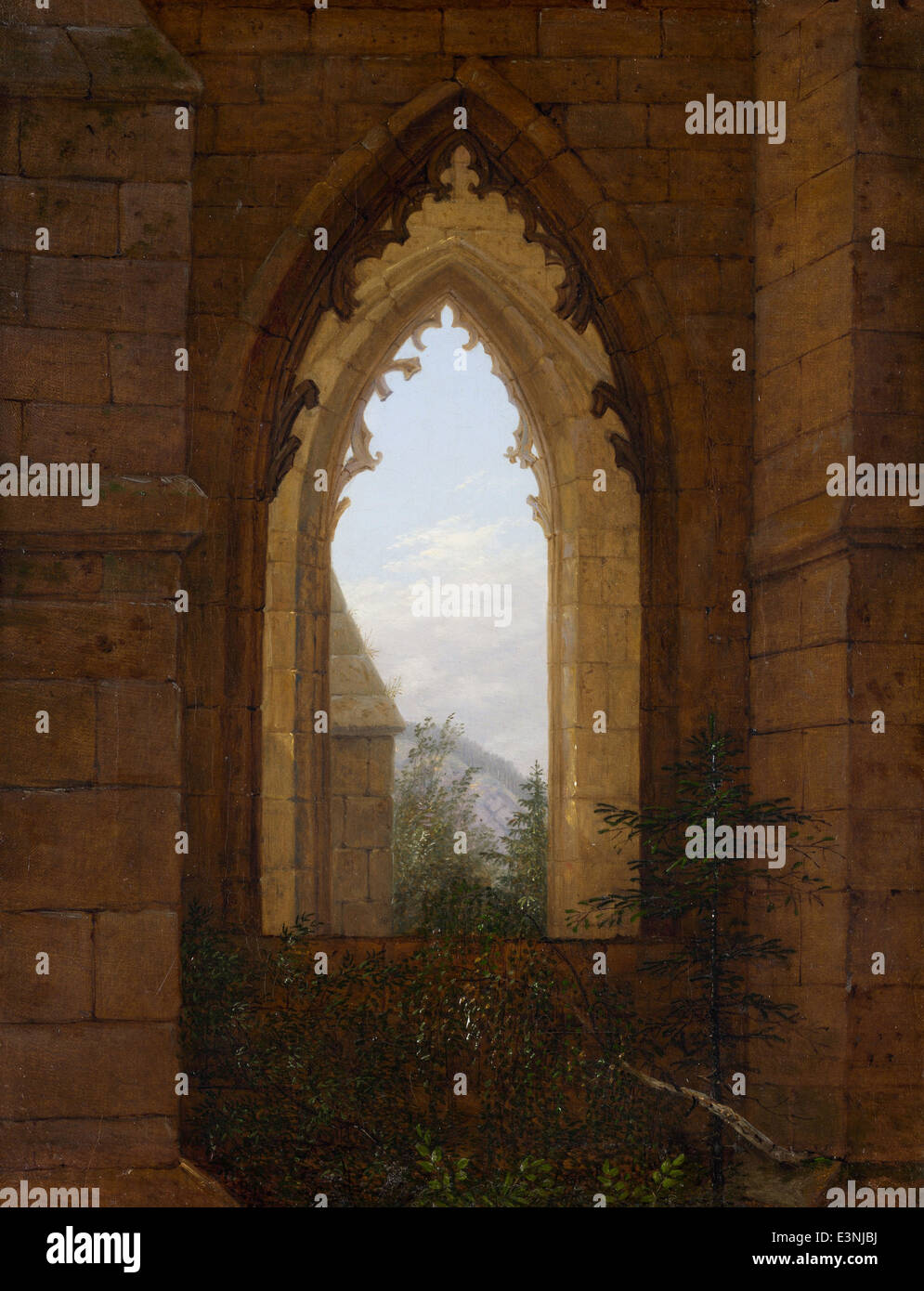 Carl Gustav Carus - finestre gotiche nelle rovine del monastero di Oybin - 1828 Immagini Stock