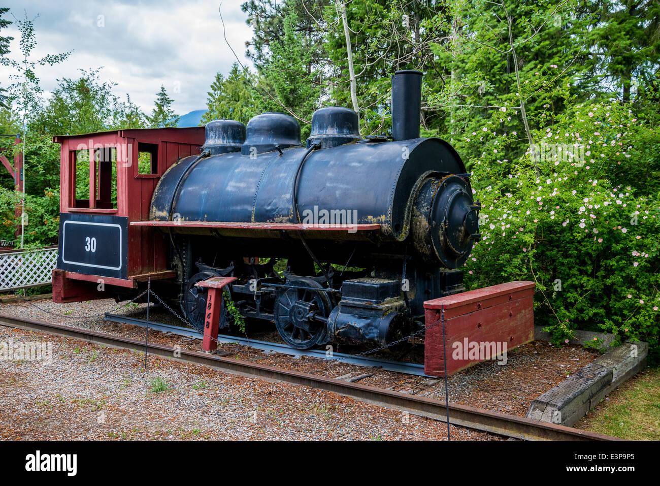 Il vecchio treno motore, Creston Museum, Creston, British Columbia, Canada Immagini Stock