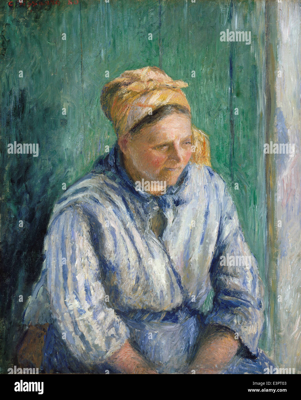 Camille Pissarro - lavandaia, Studio - 1880 Immagini Stock