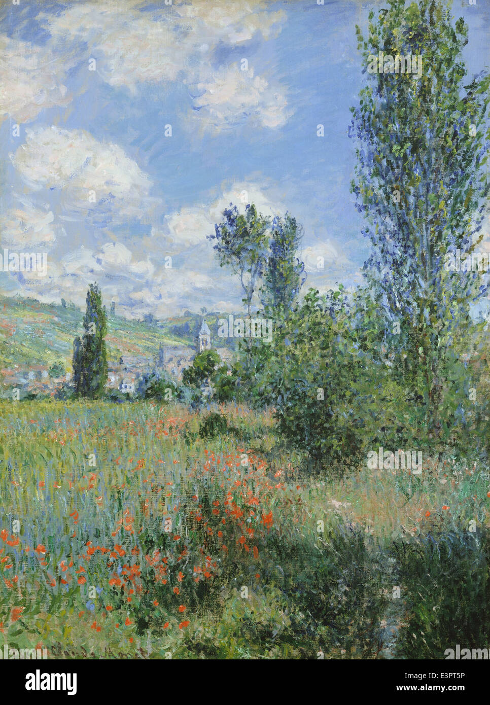 Claude Monet - Vista di Vétheuil - 1880 - MET Museum - New York Immagini Stock