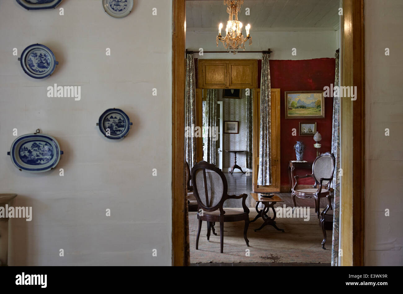 Vista nella Drawing Room in La Maison Creole francese di una casa coloniale noto anche come Eureka o casa di 109 Immagini Stock
