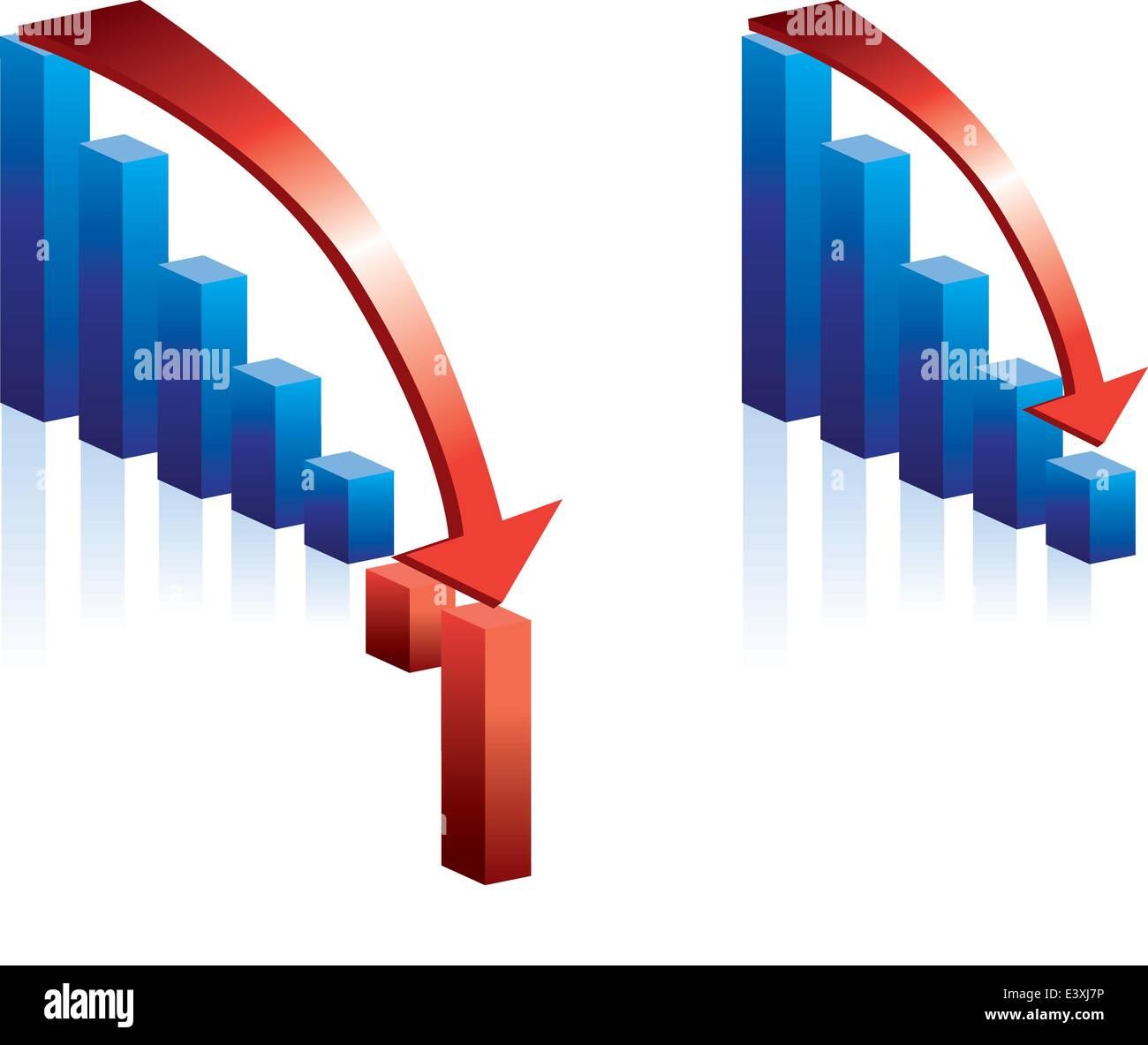 Illustrazione di un grafico in caduta e la freccia rossa Immagini Stock