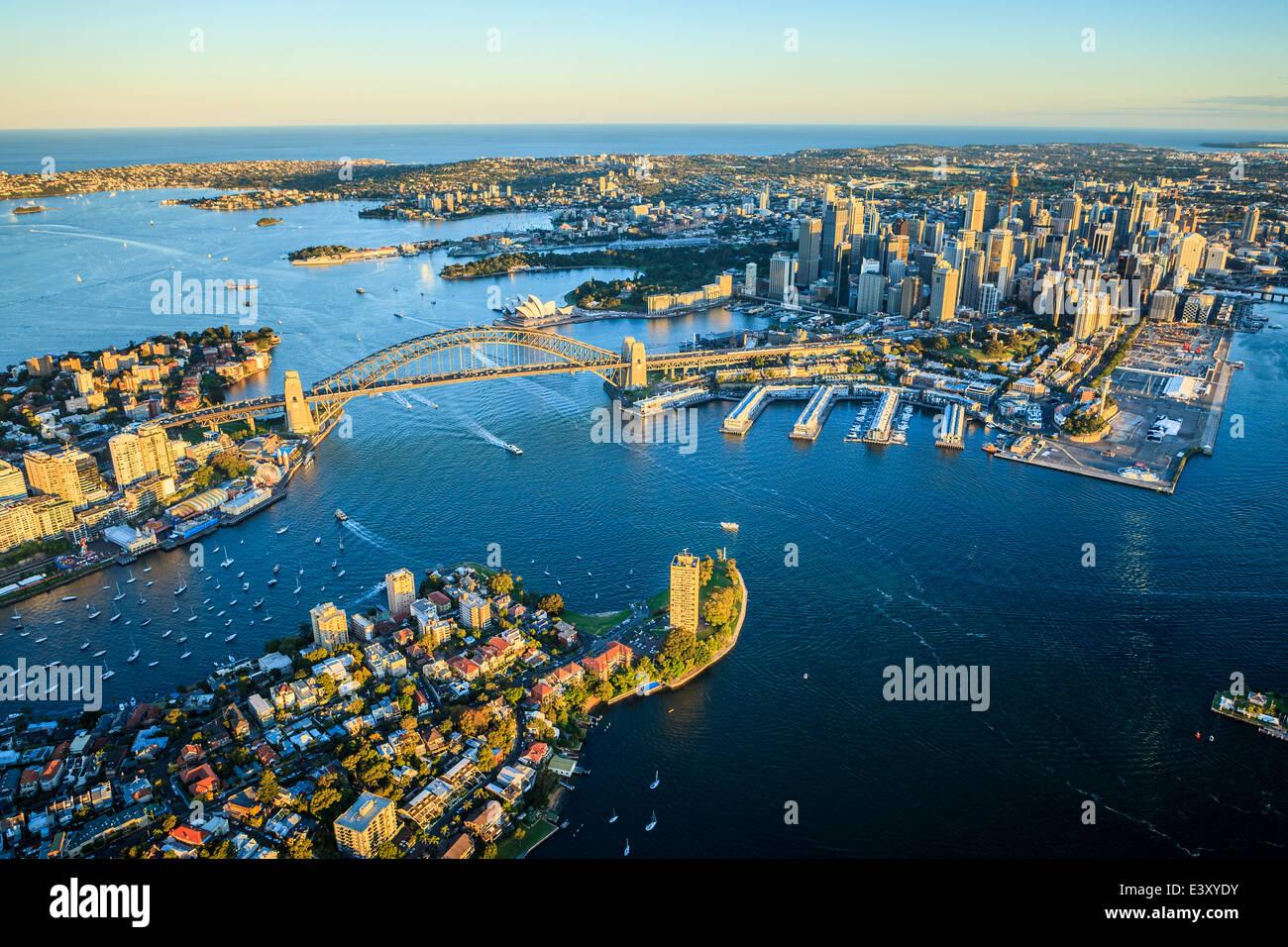 Vista aerea del paesaggio urbano di Sydney, Sydney, Nuovo Galles del Sud, Australia Immagini Stock