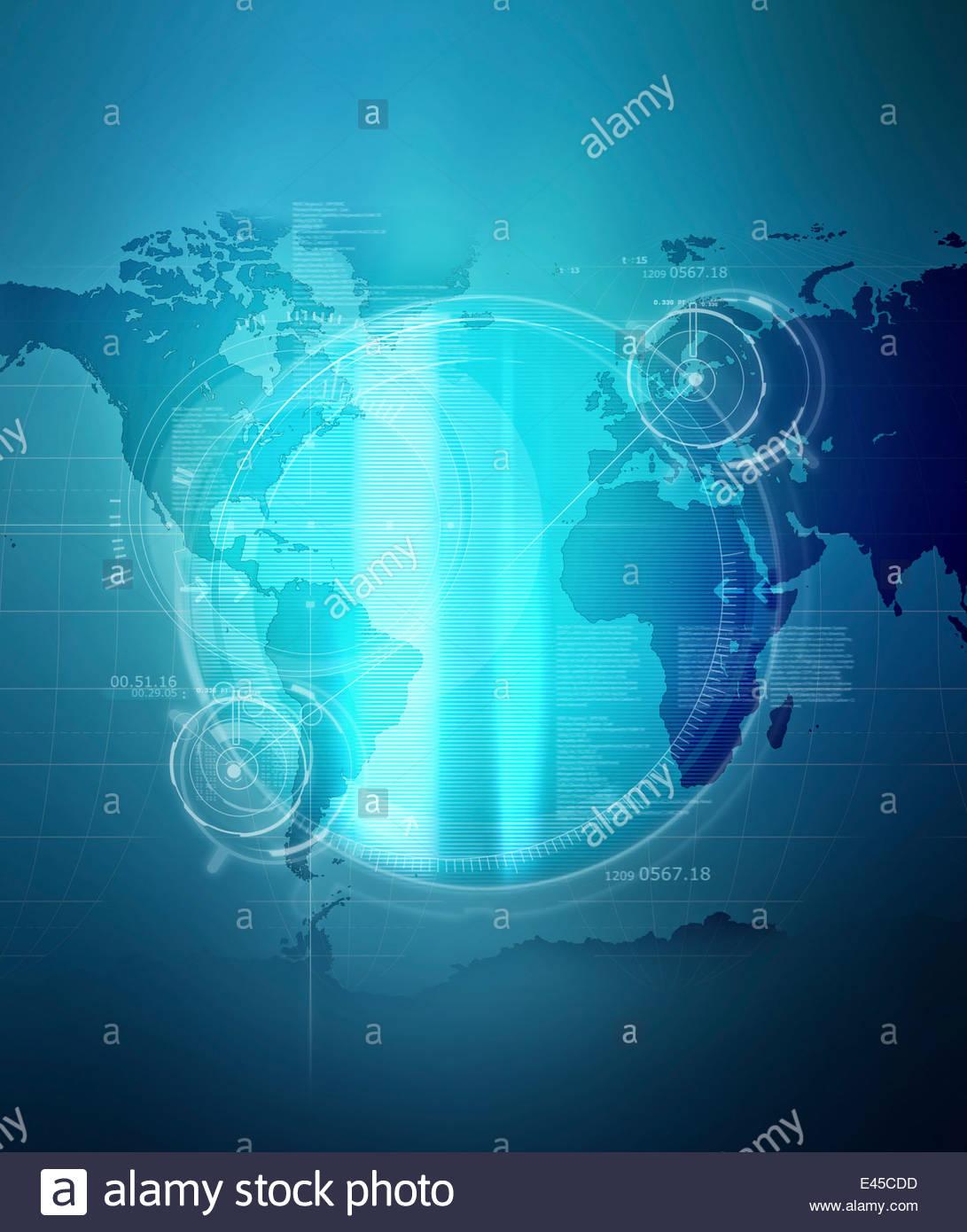Gli obiettivi di illuminato e di dati su Blu mappa mondiale Immagini Stock