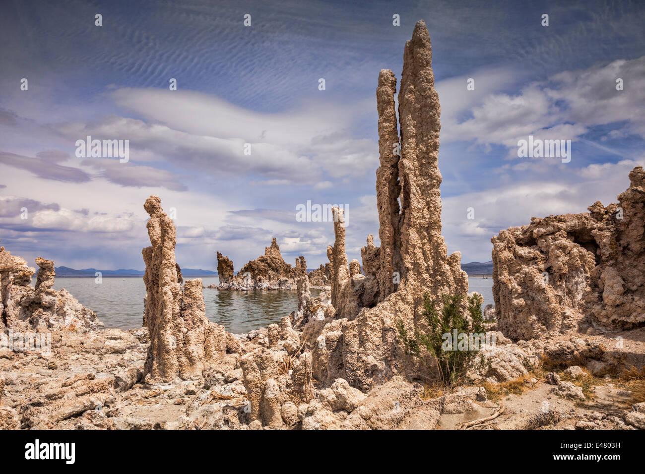 Torri di tufo a lago Mono in California. Originariamente formata sotto l'acqua, questi sono stati rivelati come Immagini Stock
