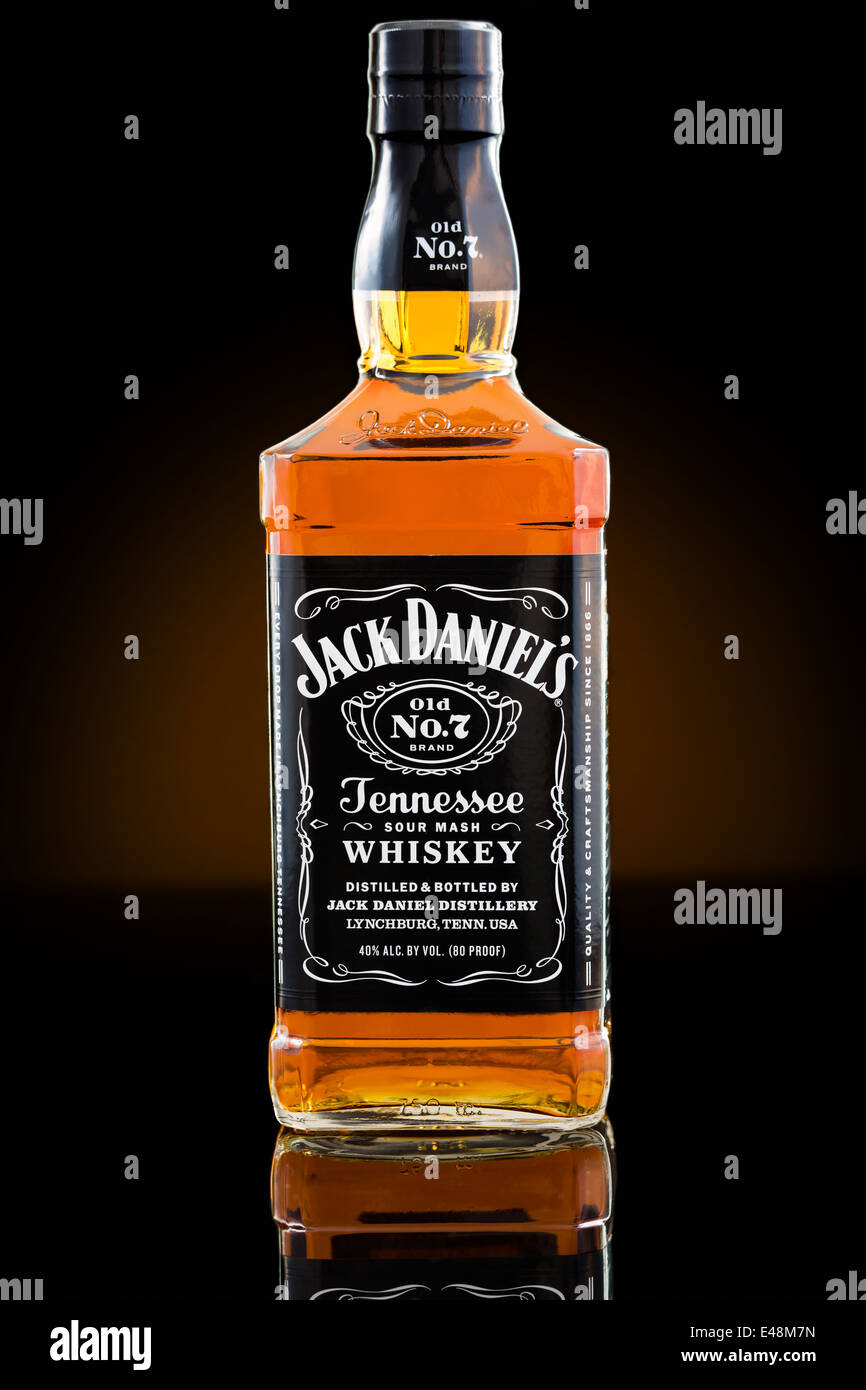 Jack Daniel's whiskey bottiglia Immagini Stock