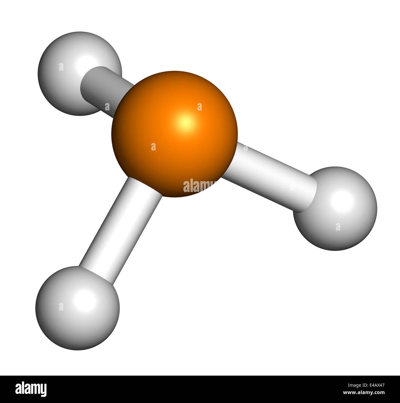 Fosfina (phosphane, PH3) molecola. Utilizzato come reagente in chimica e  come fumigante in agricoltura Foto stock - Alamy