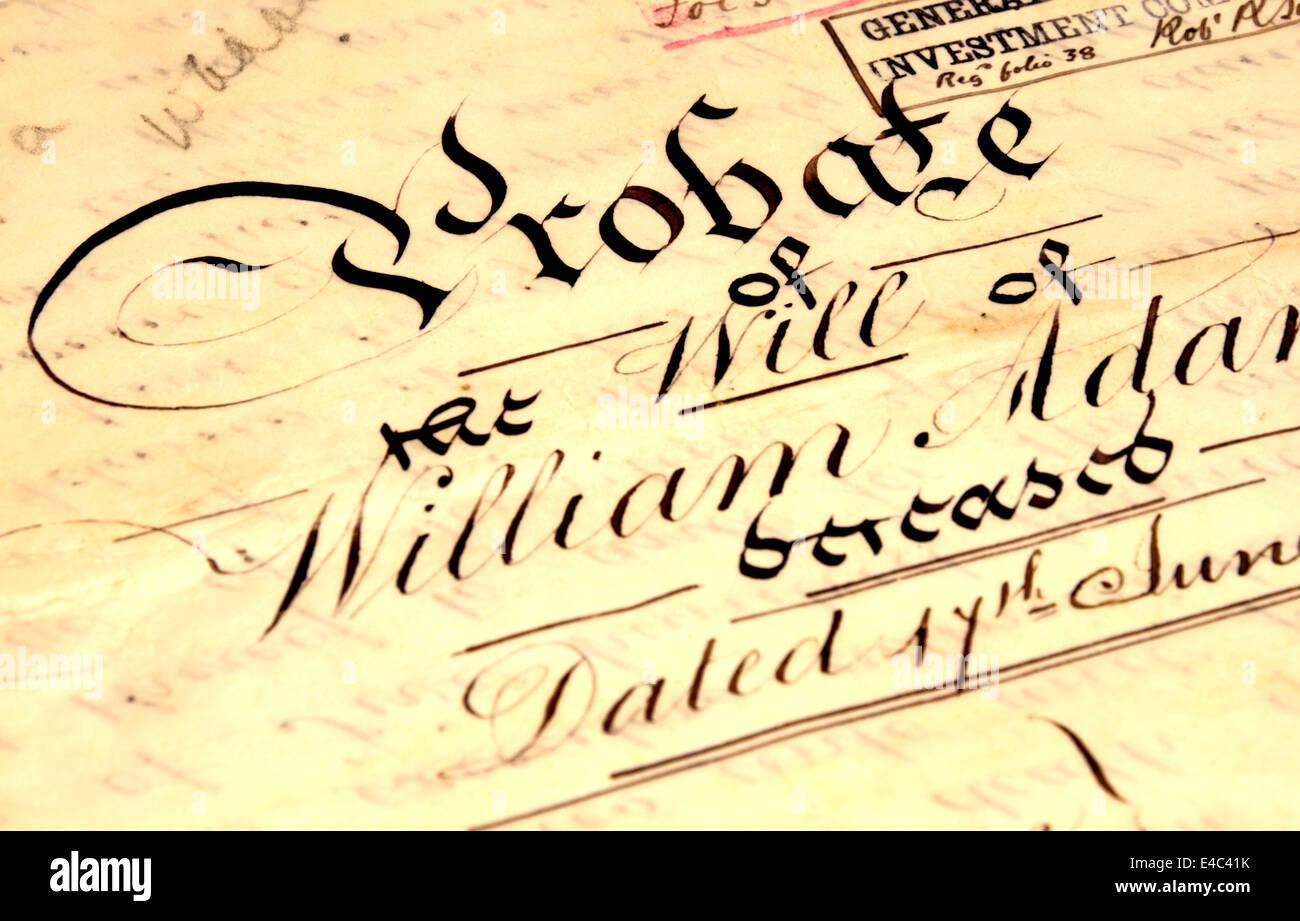 Vecchio Probate della volontà di William Adams, 1898, scritto a mano su carta pergamena Immagini Stock
