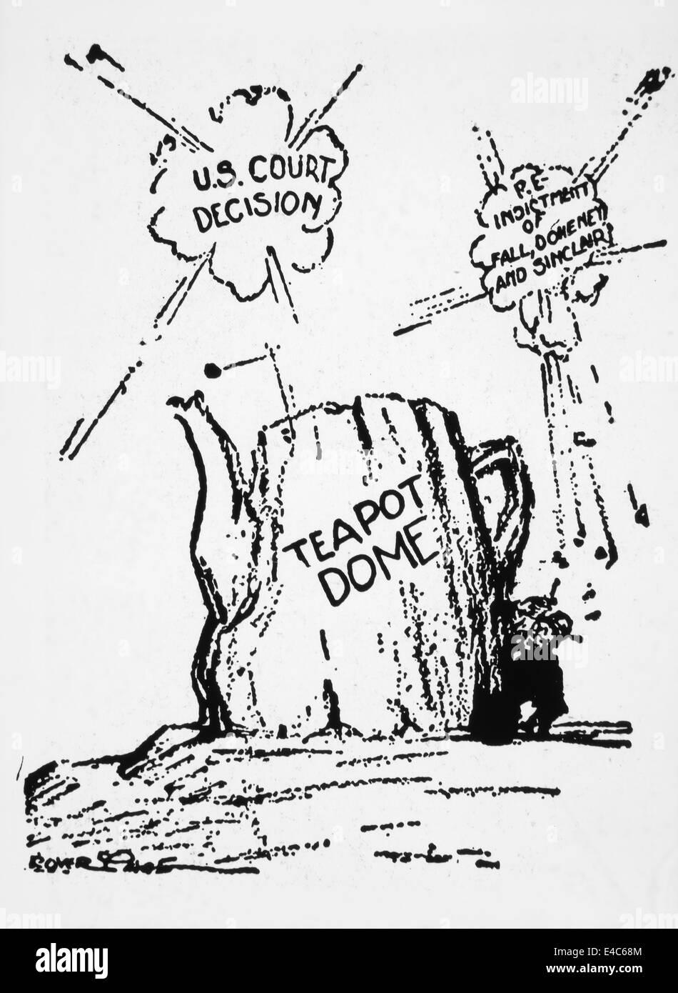Teiera cupola scandalo politico, Cartoon, 1920 Immagini Stock