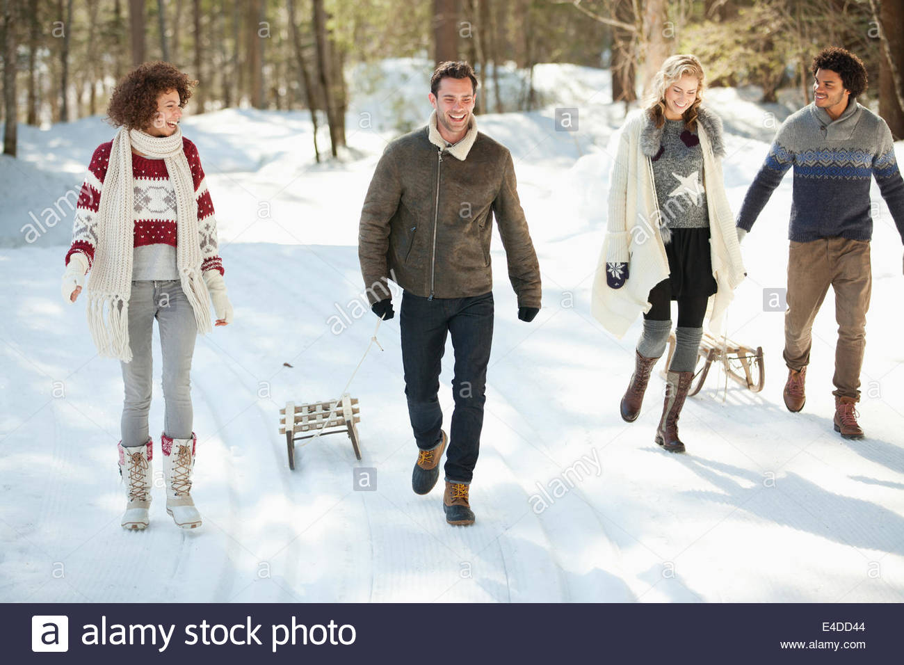 Due coppie a piedi nella neve Immagini Stock