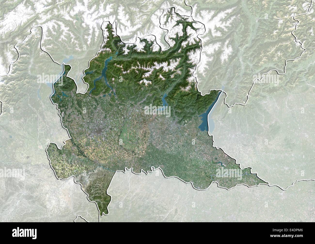 Cartina Satellitare Lombardia.Regione Di Lombardia Italia True Color Satellitare Immagine Foto Stock Alamy