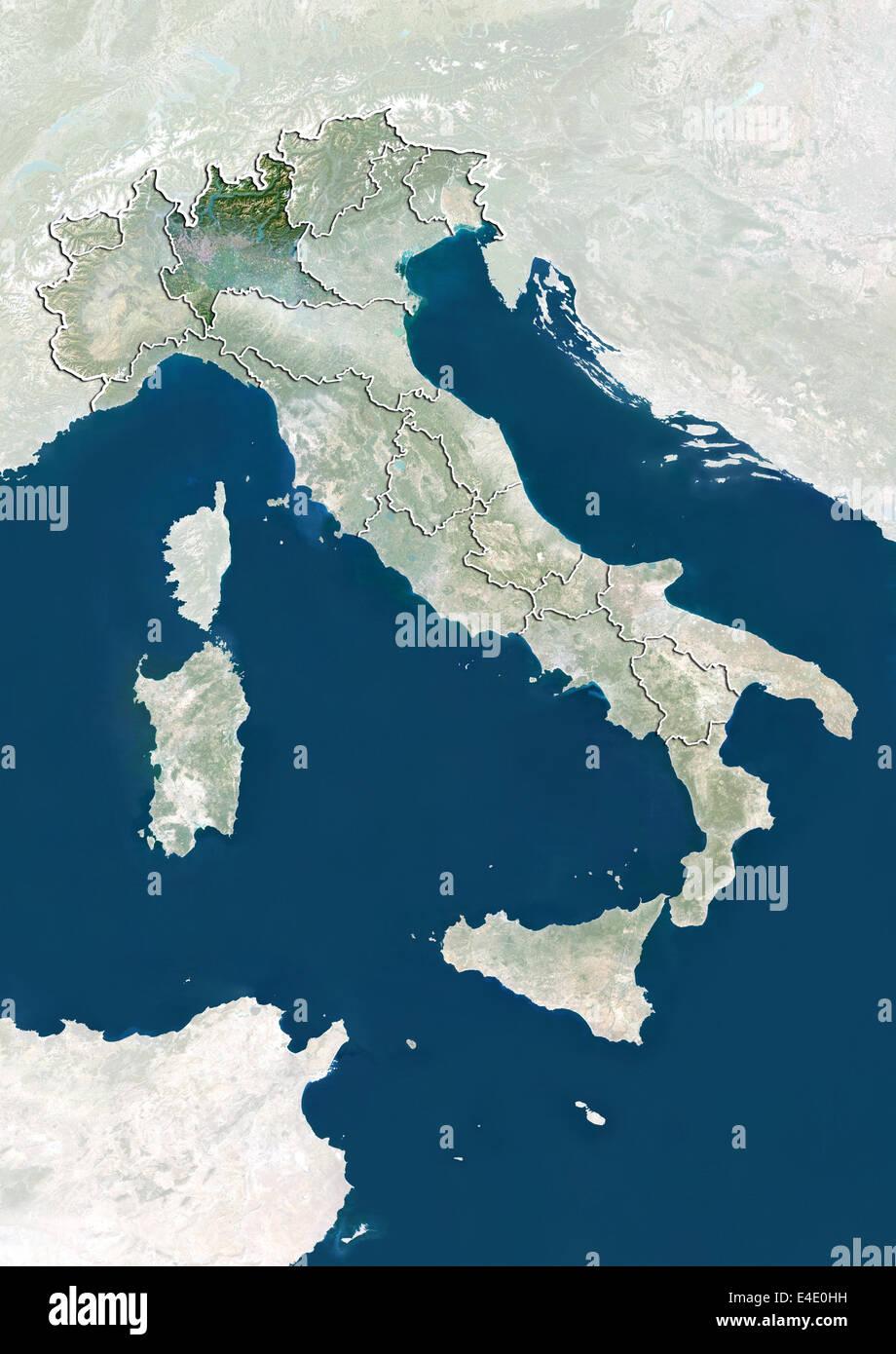Cartina Satellitare Lombardia.Italia E Della Regione Lombardia True Color Satellitare Immagine Foto Stock Alamy