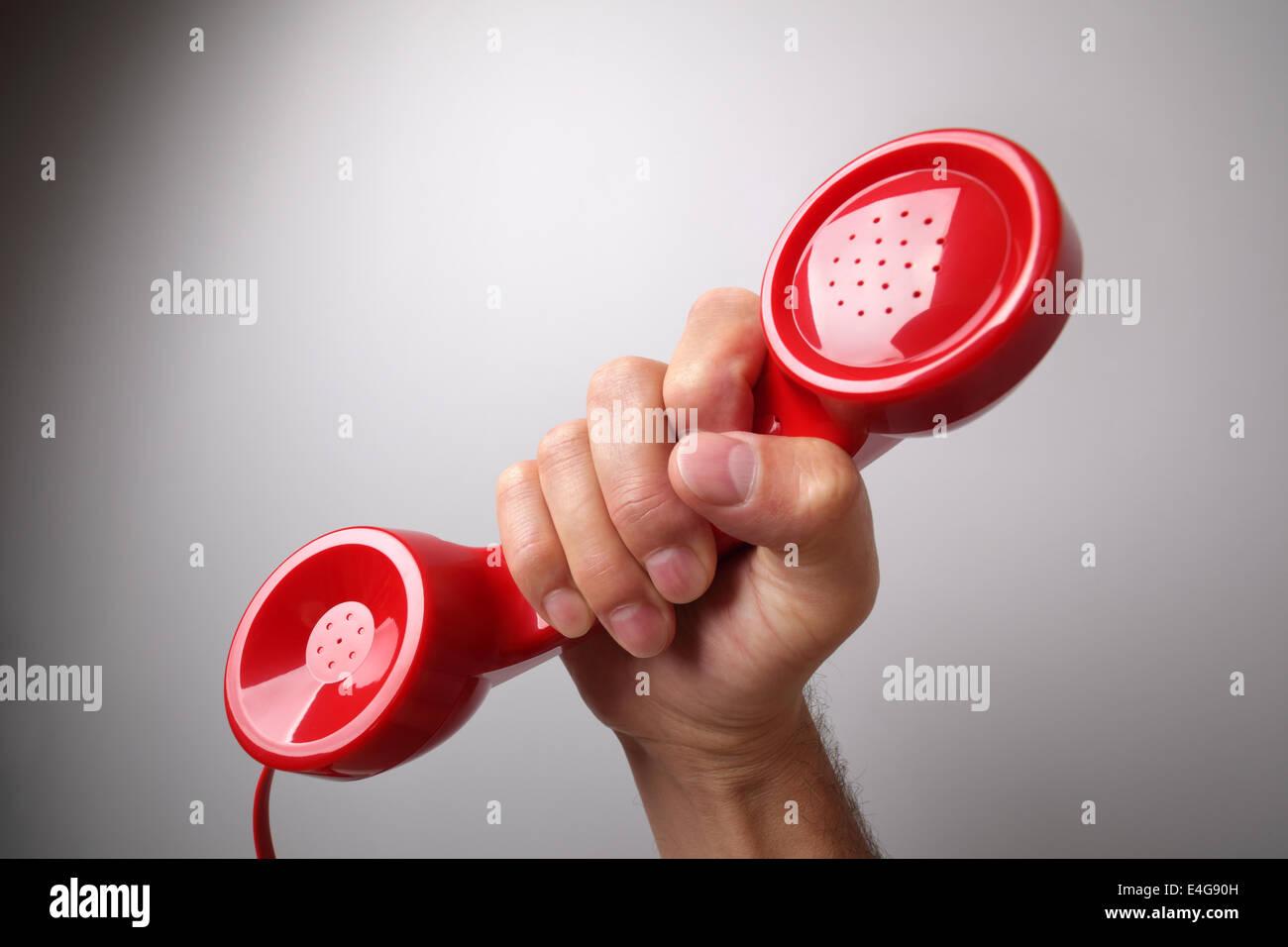 Rosso ricevitore telefonico Immagini Stock