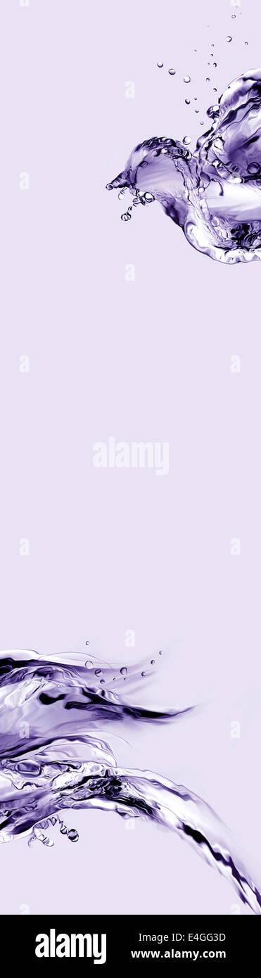 Un astratto verticale di violetta bird realizzato dall'acqua battenti. Immagini Stock