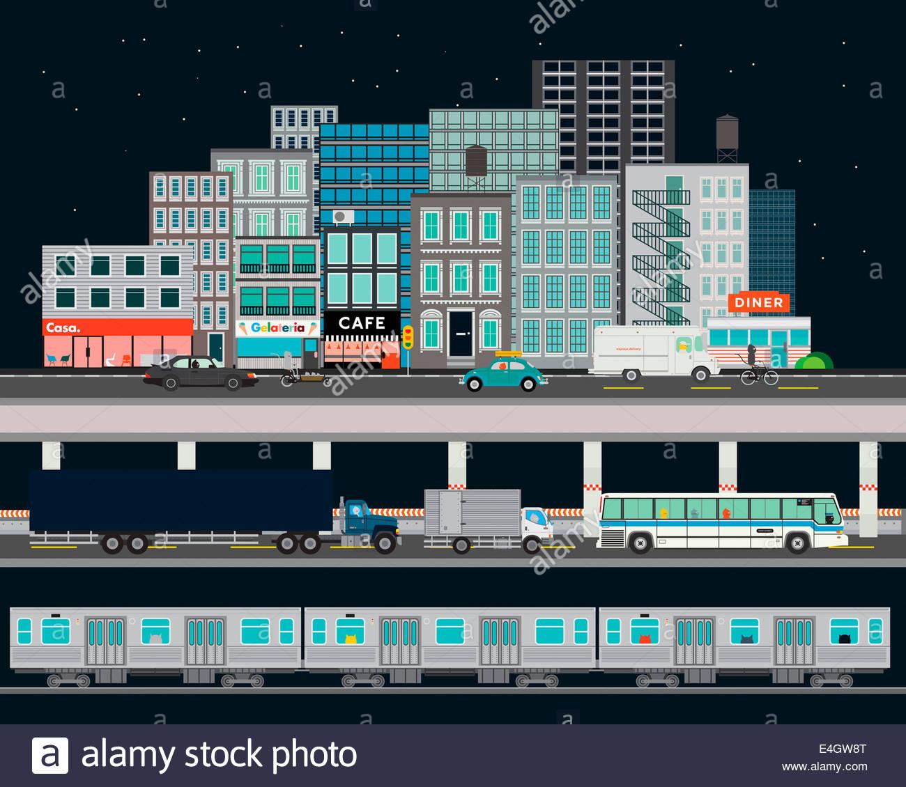 Strada di città con i vari modi di trasporto Immagini Stock