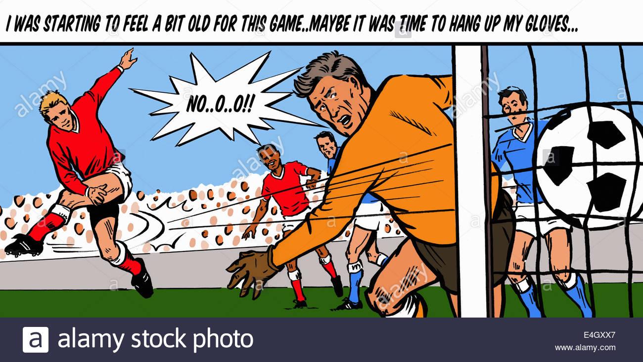 Portiere di calcio di preoccuparsi di età quando il riscontro obiettivo dei punteggi Immagini Stock
