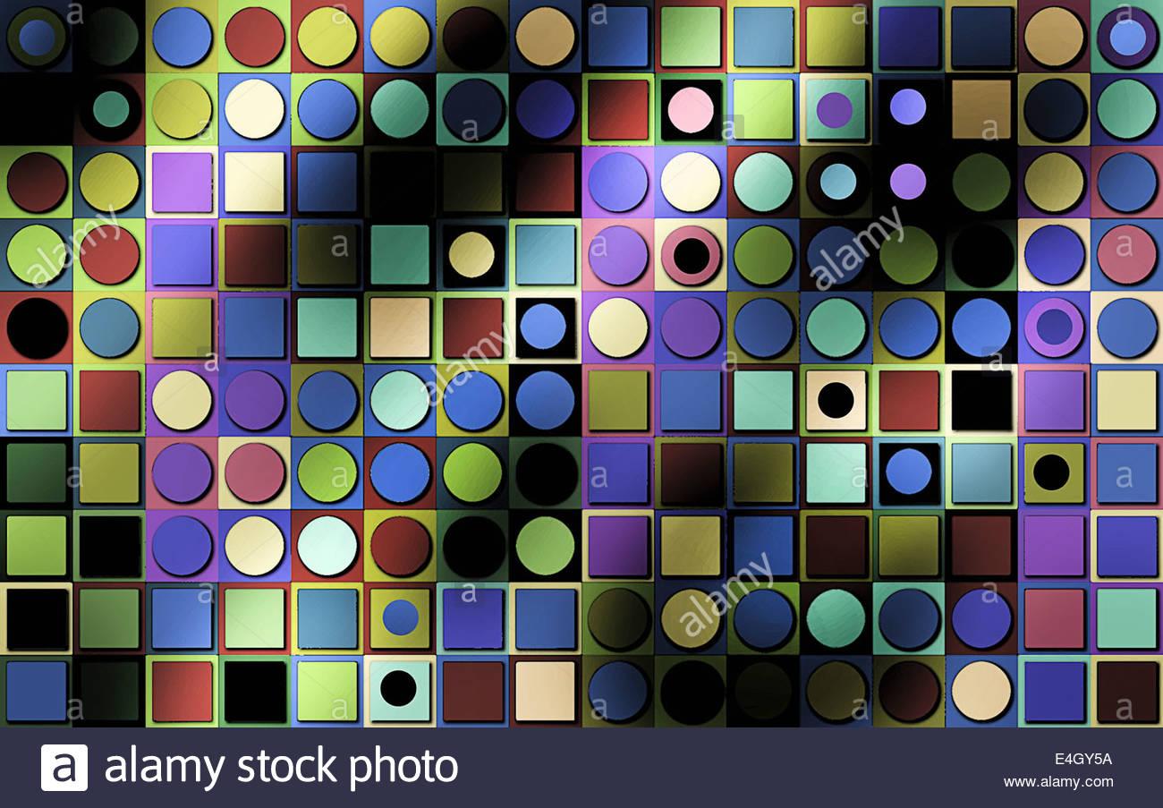 Multicolore di frame completo astratto modello geometrico di cerchi e quadrati Immagini Stock