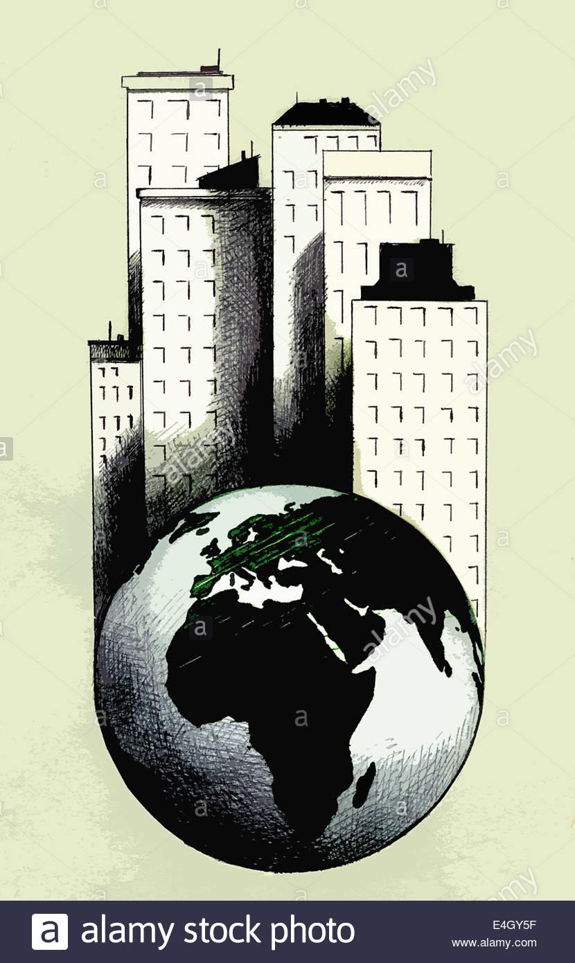 Grandi grattacieli in piedi sul globo terrestre Immagini Stock